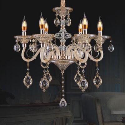 Đèn chùm nến mang phong cách Châu Âu thân đèn bằng hợp kim cao cấp và chóa đèn bằng pha lê khắc nhiều họa tiết sang trọng 9089/6