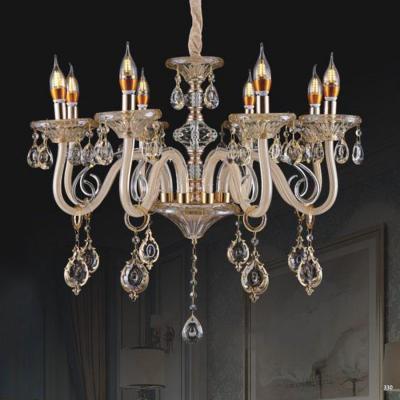 Đèn chùm nến mang phong cách Châu Âu thân đèn bằng hợp kim cao cấp và chóa đèn bằng pha lê khắc nhiều họa tiết sang trọng 9089/8