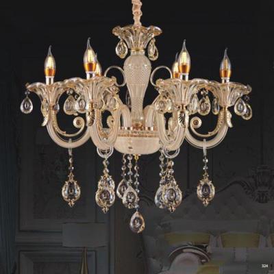 Đèn chùm nến mang phong cách Châu Âu thân đèn bằng hợp kim và pha lê trong suốt cao cấp khắc nhiều họa tiết sang trọng 9087/6