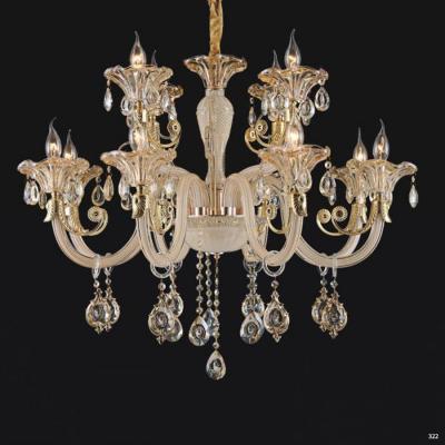 Đèn chùm nến mang phong cách Châu Âu thân đèn bằng hợp kim và pha lê trong suốt cao cấp khắc nhiều họa tiết sang trọng 9087/8+4