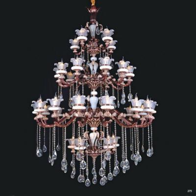 Đèn chùm nến trang trí thân đèn bằng hợp kim cao cấp chống rỉ kèm nhiều họa tiết nổi và dây thả pha lê sang trọng hiện đại 4 tầng PLNA05/5+10+15+5
