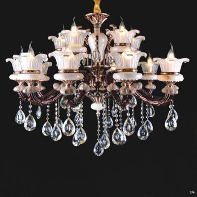 Đèn chùm nến trang trí thân đèn bằng hợp kim cao cấp chống rỉ kèm nhiều họa tiết nổi và dây thả pha lê sang trọng hiện đại PLNA05/10+5