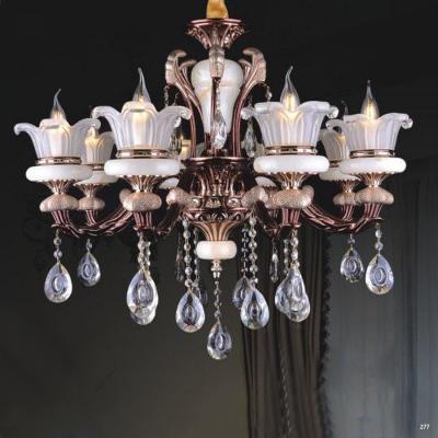 Đèn chùm nến trang trí thân đèn bằng hợp kim cao cấp chống rỉ kèm nhiều họa tiết nổi và dây thả pha lê sang trọng hiện đại PLNA05/8