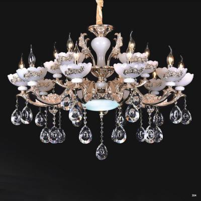 Đèn chùm nến trang trí thân đèn bằng hợp kim cao cấp khắc nhiều hoa văn nổi và đính dây thả pha lê sang trọng PLN6019/10+5