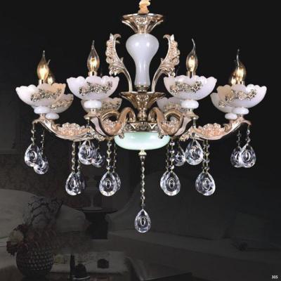 Đèn chùm nến trang trí thân đèn bằng hợp kim cao cấp khắc nhiều hoa văn nổi và đính dây thả pha lê sang trọng PLN6019/8