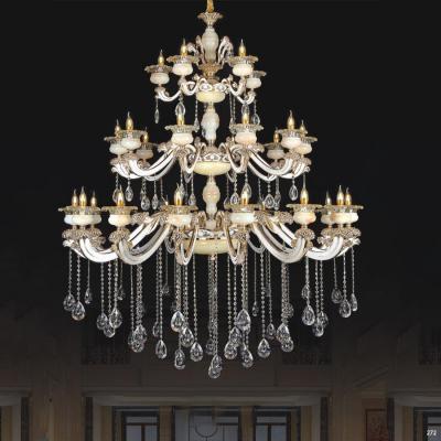 Đèn chùm nến trang trí thân đèn bằng hợp kim chống rỉ kèm nhiều họa tiết nổi và dây thả pha lê sang trọng cao cấp 3 tầng PLN6018/15+10+5