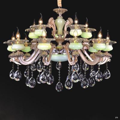 Đèn chùm nến trang trí thân đèn bằng hợp kim chống rỉ kèm nhiều họa tiết nổi và dây thả pha lê sang trọng cao cấp PLN6018/10+5