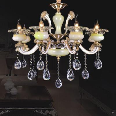Đèn chùm nến trang trí thân đèn bằng hợp kim chống rỉ kèm nhiều họa tiết nổi và dây thả pha lê sang trọng cao cấp PLN6018/8