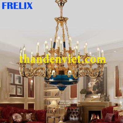 Đèn chùm nến trang trí vàng đồng cao cấp 6603-10+10+5