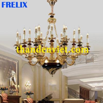 Đèn chùm nến trang trí vàng đồng cao cấp 98003-12+6+6