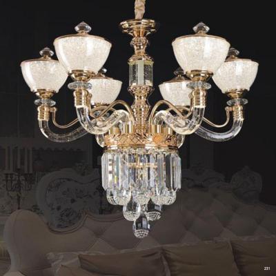 Đèn chùm pha lê kiểu dáng hiện đại tay cầm và chao đèn bằng pha lê cao cấp sang trọng 58907-6