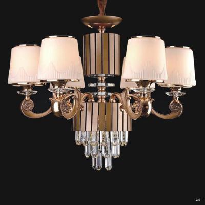 Đèn chùm pha lê led kiểu dáng hiện đại thân làm từ hợp kim không rỉ và chao đèn bằng pha lê cao cấp kèm nhiều họa tiết sang trọng 9019-6