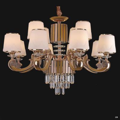 Đèn chùm pha lê led kiểu dáng hiện đại thân làm từ hợp kim không rỉ và chao đèn bằng pha lê cao cấp kèm nhiều họa tiết sang trọng 9019-8+4
