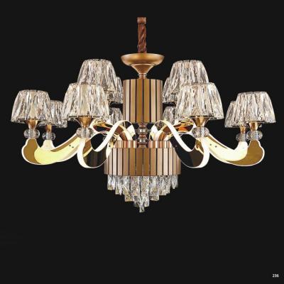 Đèn chùm pha lê led kiểu dáng hiện đại thân làm từ hợp kim không rỉ và chao đèn bằng pha lê cao cấp sang trọng giá rẻ nhất 9399-8+4