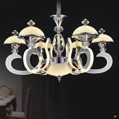 Đèn chùm pha lê led thân làm từ hợp kim cao cấp không rỉ và chao đèn bằng pha lê sang trọng hiện đại 9032-6