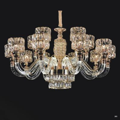 Đèn chùm pha lê mang phong cách hiện đại thân đèn bằng hợp kim cao cấp và chao đèn bằng pha lê khắc họa tiết sang trọng 58332-15
