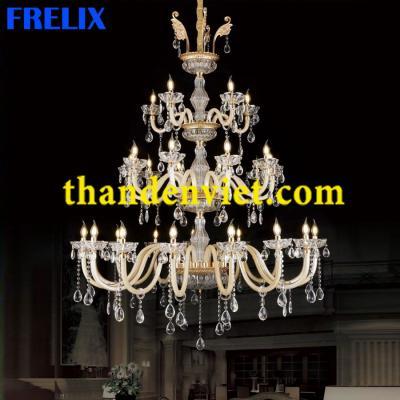 Đèn chùm pha lê nến đẹp hiện đại cao cấp 6030/5+10+15