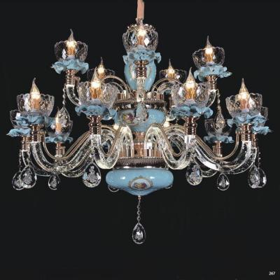 Đèn chùm pha lê nến mang phong cách hiện đại thân đèn bằng hợp kim chống rỉ kèm nhiều họa tiết và dây thả pha lê sang trọng cao cấp 58076-15