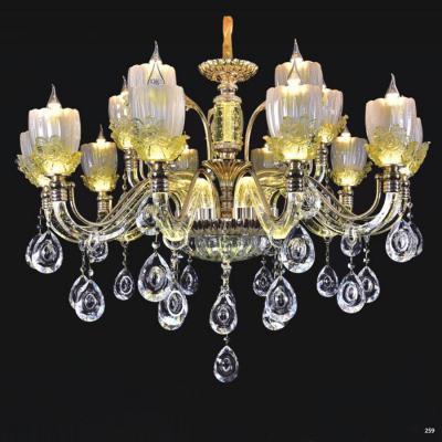 Đèn chùm pha lê nến thân đèn bằng hợp kim cao cấp kết hợp với pha lê trong suốt sang trọng hiện đại PLN9906/10+5