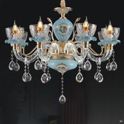 Đèn chùm pha lê nến thiết kế theo phong cách Châu Âu kết hợp nhiều họa tiết tinh tế và đính kèm dây thả pha lê cao cấp sang trọng 8605/8