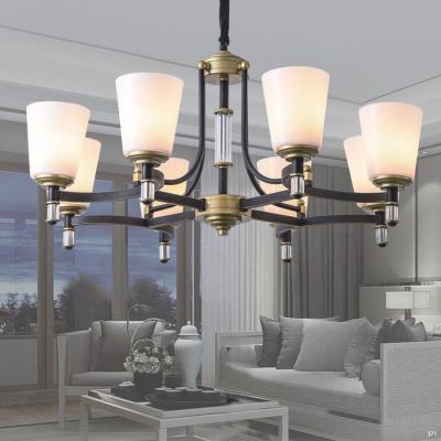 Đèn chùm trang trí hiện đại thân đèn bằng hợp kim cao cấp chống rỉ và chóa đèn bằng thủy tinh sang trọng 9202-8H
