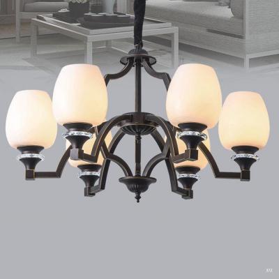 Đèn chùm trang trí hiện đại thân đèn bằng hợp kim cao cấp chống rỉ và chóa đèn bằng thủy tinh sang trọng 9203-6H