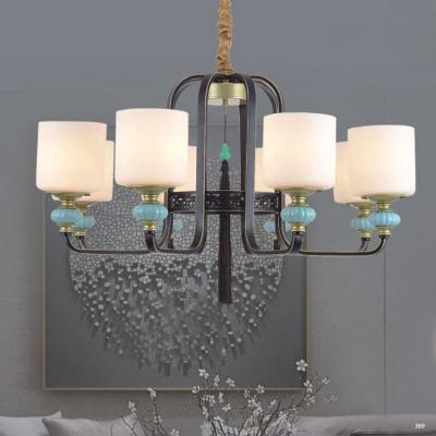 Đèn chùm trang trí mang phong cách Châu Âu đèn bằng hợp kim cao cấp đính họa tiết và chóa đèn bằng thủy tinh sang trọng 3067/8