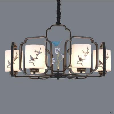 Đèn chùm trang trí mang phong cách Châu Âu đèn bằng hợp kim cao cấp đính họa tiết và chóa đèn bằng thủy tinh sang trọng 3068/6