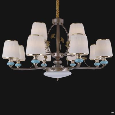 Đèn chùm trang trí mang phong cách Châu Âu đèn bằng hợp kim cao cấp khắc hoa văn và chóa đèn bằng thủy tinh sang trọng 8260/8+4