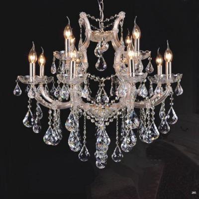 Đèn chùm trang trí nến thân đèn bằng hợp kim cao cấp sơn tĩnh điện chống rỉ và dây thả pha lê sang trọng hiện đại 9073-8+4
