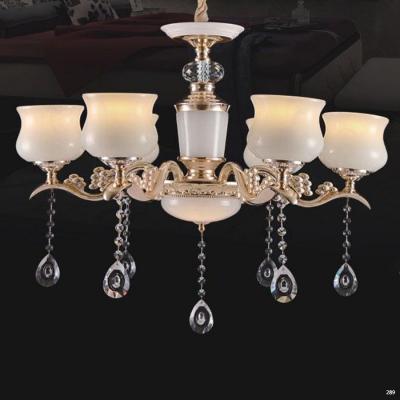 Đèn chùm trang trí phong cách Châu Âu thân đèn bằng hợp kim khắc nhiều hoa văn cao cấp và dây thả pha lê sang trọng giá rẻ nhất 6067/6