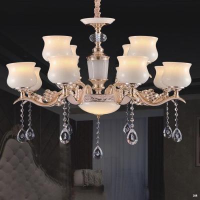 Đèn chùm trang trí phong cách Châu Âu thân đèn bằng hợp kim khắc nhiều hoa văn cao cấp và dây thả pha lê sang trọng giá rẻ nhất 6067/8+4