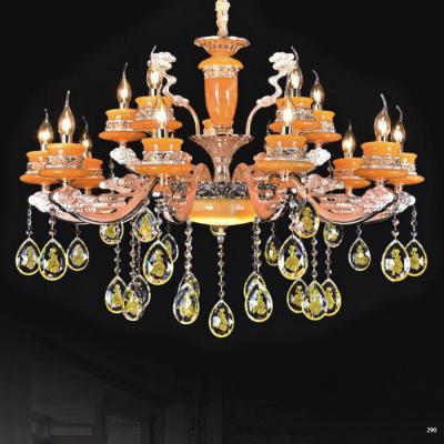 Đèn chùm trang trí phong cách Châu Âu thân đèn bằng hợp kim khắc nhiều hoa văn cao cấp và dây thả pha lê sang trọng PLN6051/10+5