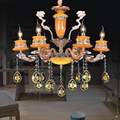 Đèn chùm trang trí phong cách Châu Âu thân đèn bằng hợp kim khắc nhiều hoa văn cao cấp và dây thả pha lê sang trọng PLN6051/6