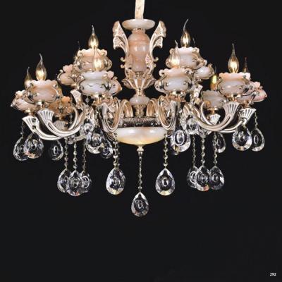 Đèn chùm trang trí phong cách Châu Âu thân đèn bằng hợp kim khắc nhiều hoa văn tinh tế và dây thả pha lê sang trọng cao cấp PLN6010/10+5