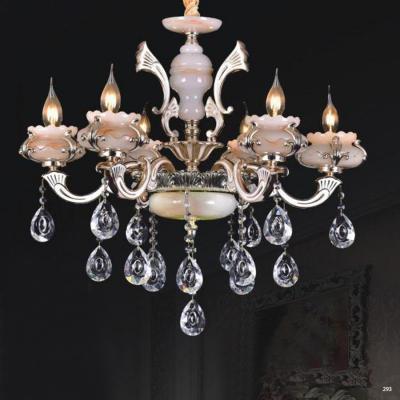 Đèn chùm trang trí phong cách Châu Âu thân đèn bằng hợp kim khắc nhiều hoa văn tinh tế và dây thả pha lê sang trọng cao cấp PLN6010/6