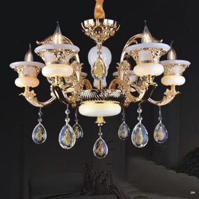 Đèn chùm trang trí phong cách Châu Âu thân đèn bằng hợp kim khắc nhiều hoa văn tinh tế và dây thả pha lê sang trọng cao cấp PLNA03/6