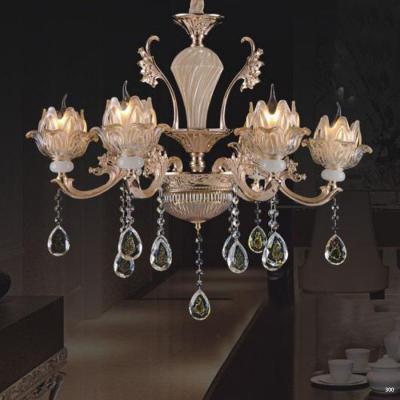 Đèn chùm trang trí phong cách hiện đại chao đèn bằng thủy tinh cao cấp khắc nhiều hoa văn và đính dây thả pha lê sang trọng 8612/6