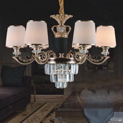 Đèn chùm trang trí phong cách hiện đại thân đèn bằng hợp kim khắc nhiều hoa văn tinh tế và chao đèn bằng pha lê sang trọng cao cấp 6066/6