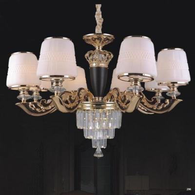 Đèn chùm trang trí phong cách hiện đại thân đèn bằng hợp kim khắc nhiều hoa văn tinh tế và chao đèn bằng pha lê sang trọng cao cấp 6066/8