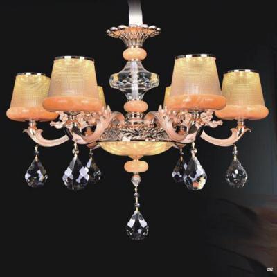 Đèn chùm trang trí thân đèn bằng hợp kim cao cấp chống rỉ và chóa đèn bằng pha lê khắc họa tiết sang trọng hiện đại 9072-6