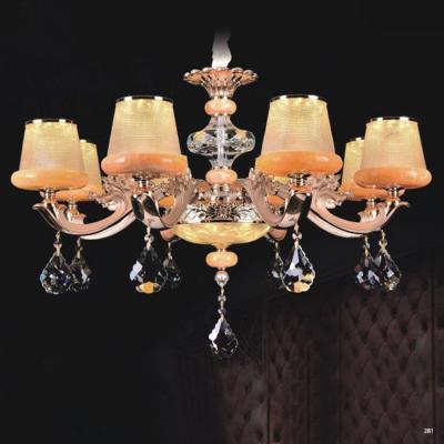 Đèn chùm trang trí thân đèn bằng hợp kim cao cấp chống rỉ và chóa đèn bằng pha lê khắc họa tiết sang trọng hiện đại 9072-8