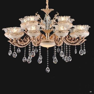Đèn chùm trang trí thân đèn bằng hợp kim cao cấp khắc nhiều hoa văn tinh tế và đính dây thả pha lê sang trọng 6063/10+5