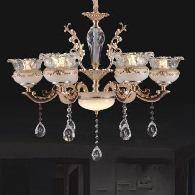 Đèn chùm trang trí thân đèn bằng hợp kim cao cấp khắc nhiều hoa văn tinh tế và đính dây thả pha lê sang trọng 6063/6