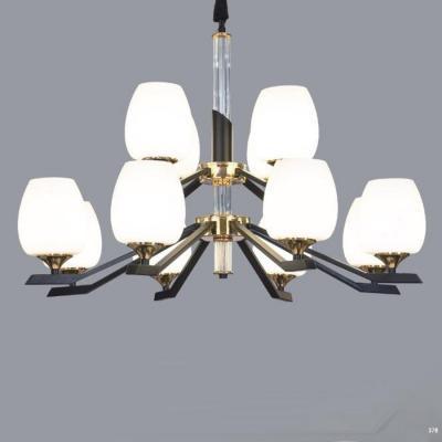 Đèn chùm trang trí thân đèn bằng hợp kim cao cấp và chóa đèn bằng thủy tinh sang trọng hiện đại 2 tầng 9030-8+4