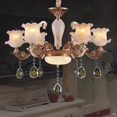 Đèn chùm trang trí thân đèn bằng hợp kim chống rỉ kèm nhiều họa tiết và dây thả pha lê sang trọng cao cấp giá rẻ nhất 6065/6