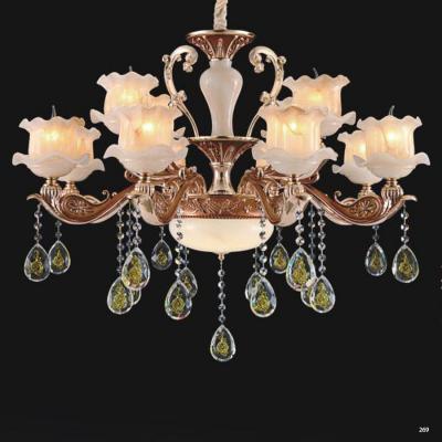 Đèn chùm trang trí thân đèn bằng hợp kim chống rỉ kèm nhiều họa tiết và dây thả pha lê sang trọng cao cấp giá rẻ nhất 6065/8+4