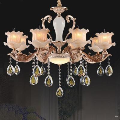Đèn chùm trang trí thân đèn bằng hợp kim chống rỉ kèm nhiều họa tiết và dây thả pha lê sang trọng cao cấp giá rẻ nhất 6065/8