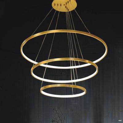 Đèn thả dây thông tầng hình vòng tròn viền vàng thành mỏng 1025-3