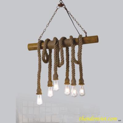 Đèn thả dây thừng nghệ thuật quấn quanh cây gỗ 6 bóng DTTKDD1018